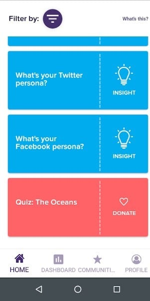 """Screenshot of the Survey """"Tiles"""" available on the CitizenMe survey app"""