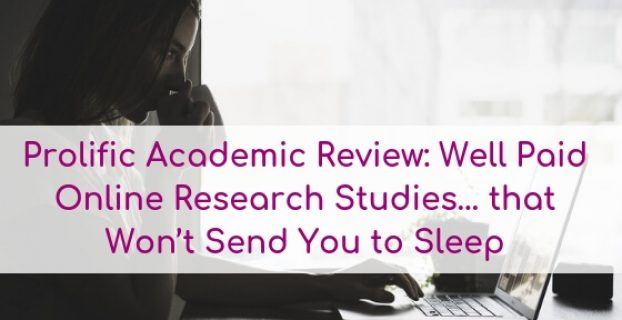 Woman filling out survey on laptop: Text overlay:Prolific Academic Review: Well Paid Online Research Studies... that won't send you to sleep