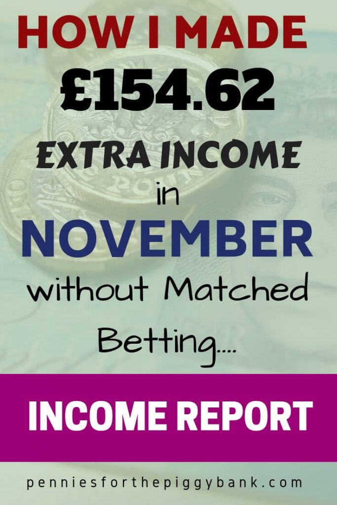 November 2018 Income Report: How I Made £154.62 Extra Income in November without Matched Betting