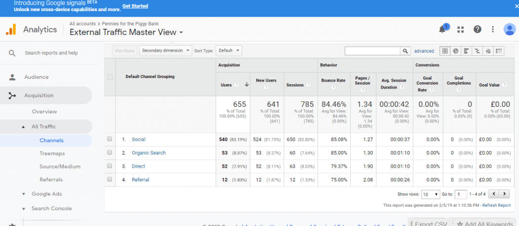 Google Analytics Traffic Acquisition New Blog Month 2 Screenshot