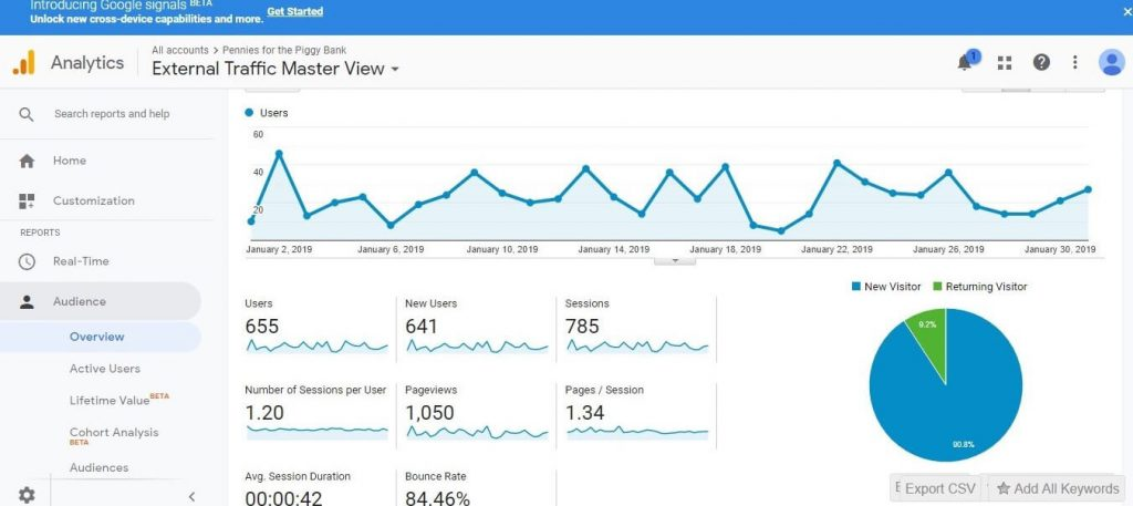 Google Analytics New Blog Traffic Overview Screenshot Month 2