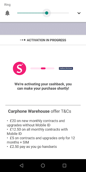 Shopmium Carphone Warehouse cashback terms on activation