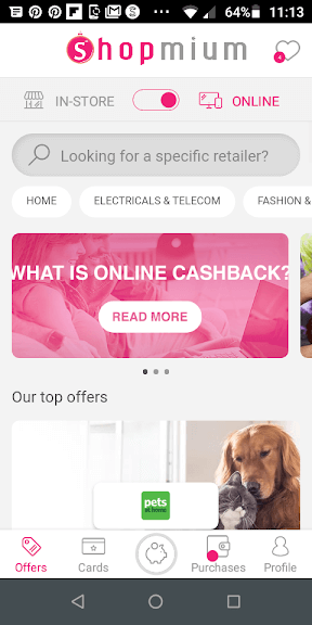 Shopmium Online Cashback Screenshot