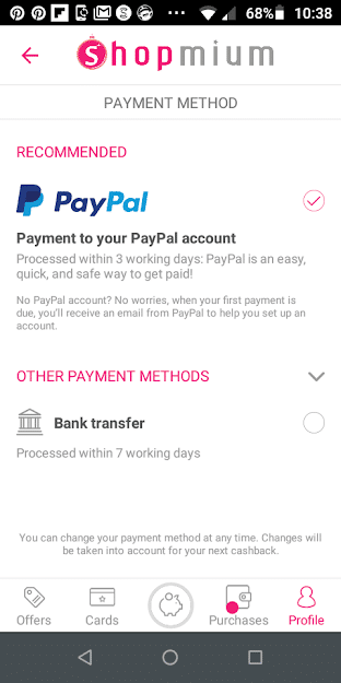 Shopmium Payment Seclection Screenshot