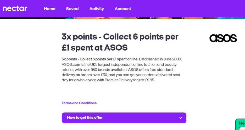 ASOS Triple Points Nectar Offer