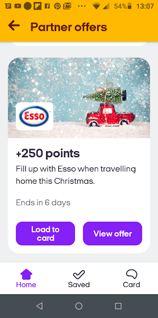 Esso Nectar Bonus offer screenshot