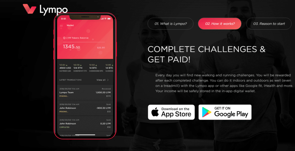 Lympo Screenshot Complete Challenges and get paid