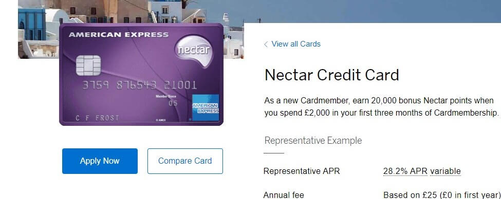 Nectar American Express Credit Card offer screenshot
