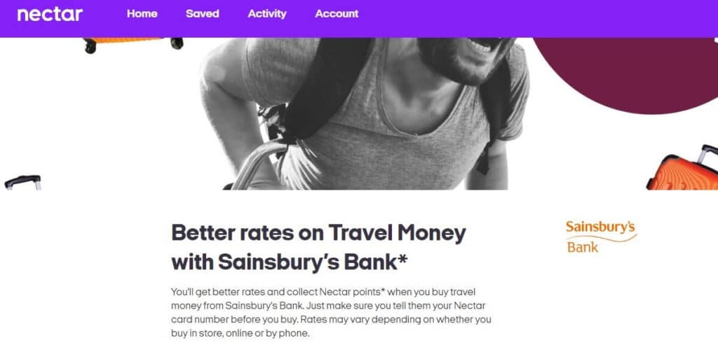 Nectar Better rates on Sainsbury's Travel Currrency Offer Screenshot