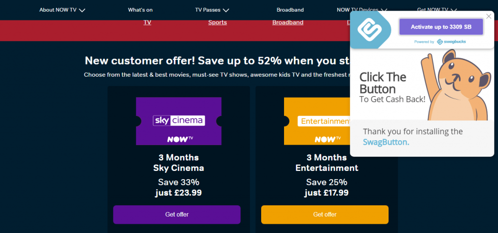 NowTV Offer Screen with Swagbutton