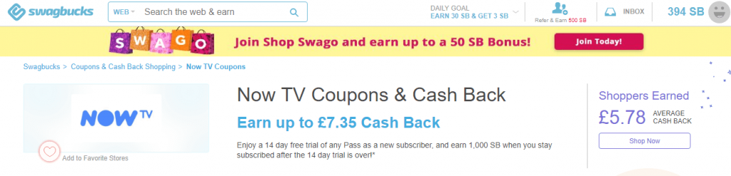 NowTV Swagbucks Offer Screenshot