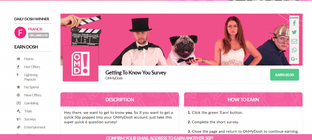 OhMyDosh Survey Screenshot