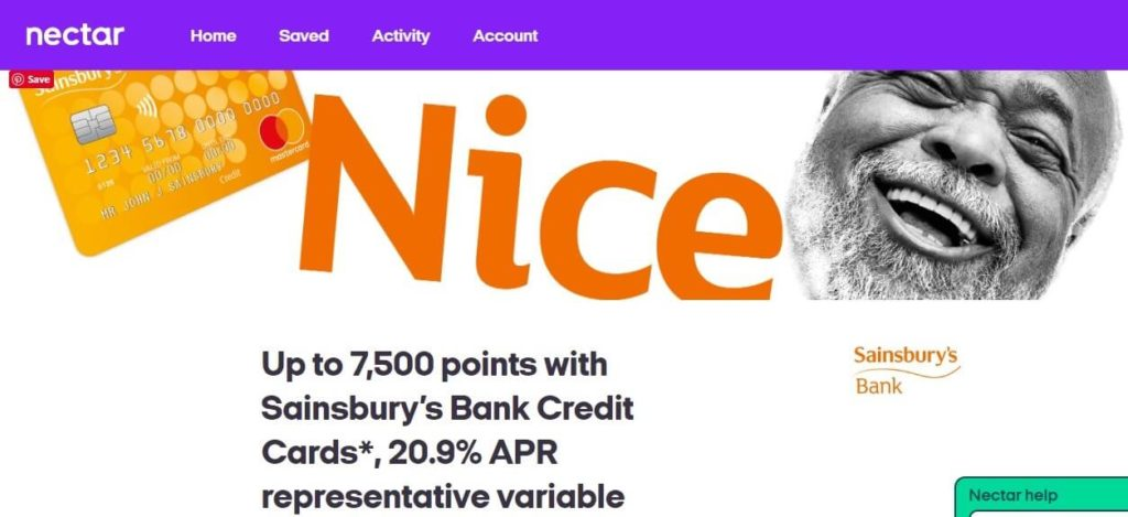 Sainsbuy's Bank Credit Card Nectar Offer Screenshot