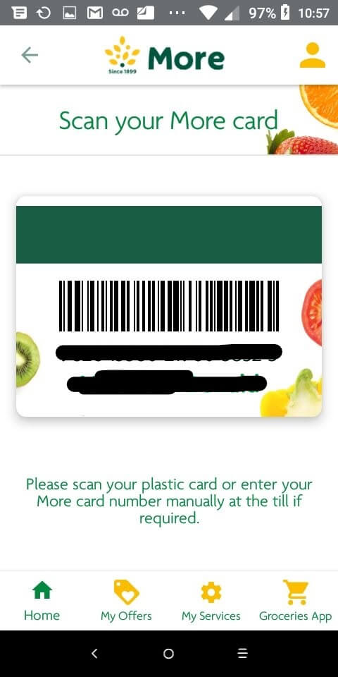 Digital Morrisons Card in More App Screenshot