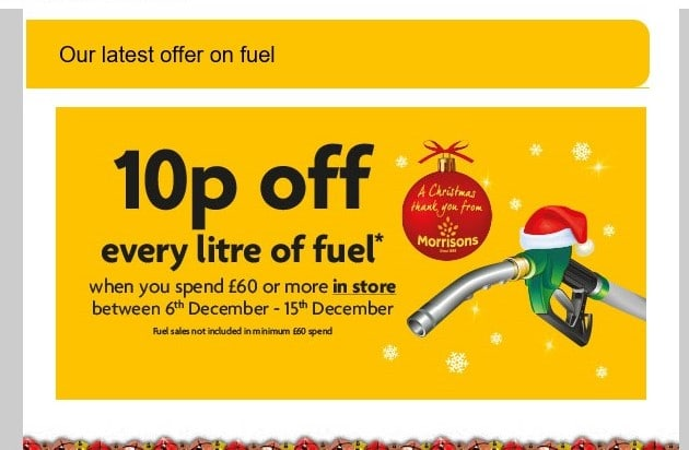 Morrisons 10p off a litre of fuel offer screenshot