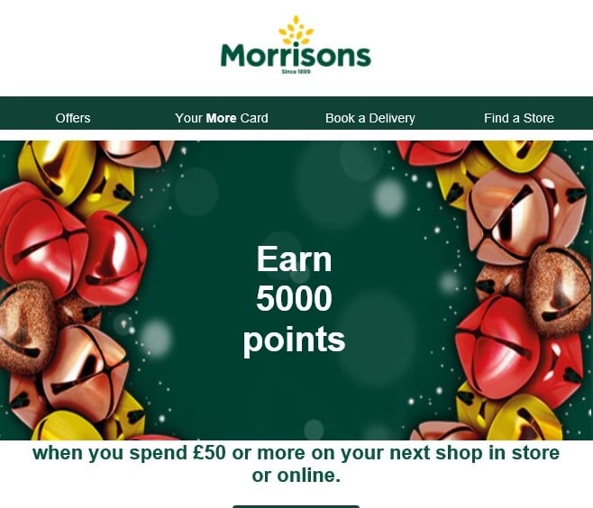 Morrisons 5000 points for £50 spend offer