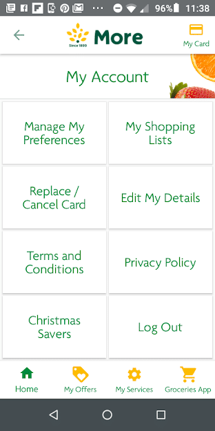 Morrisons More App My Account Options Screenshot