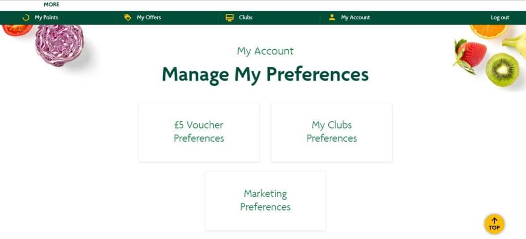 Morrisons More Manage My Preferences Screenshot