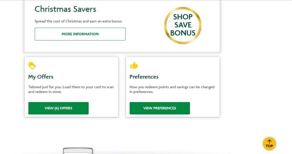 Morrisons My Account Options Screenshot