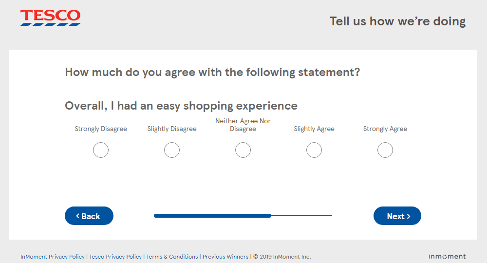 Tesco Views Overall Shopping Experience Question Screenshot