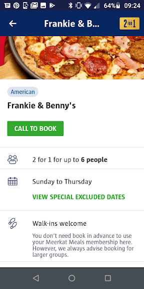 Meerkat Meals App Frankie and Bennies Screenshot