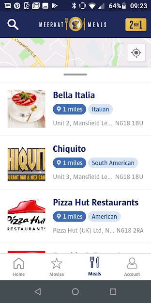 Meerkat Meals App Restaurant Locator Screenshot