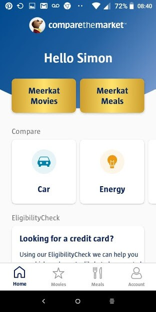 Meerkat Meals or Meerkat Movies selection screenshot