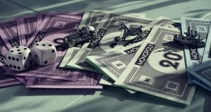 Monopoly Money Image with Playing Pieces and Dice