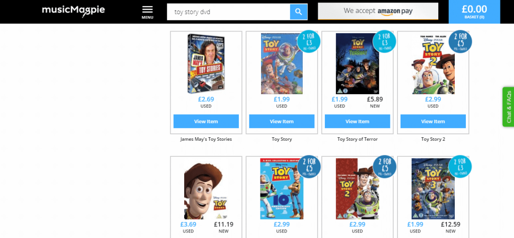 Toy Story DVD Page on Music Magpie Screenshot