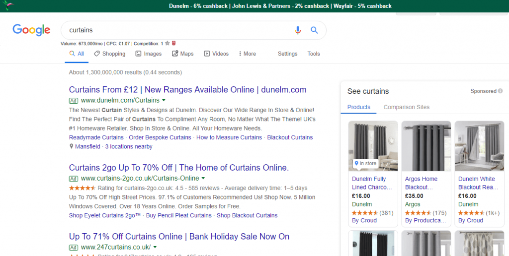 TopCashback Notifier Search Results Display