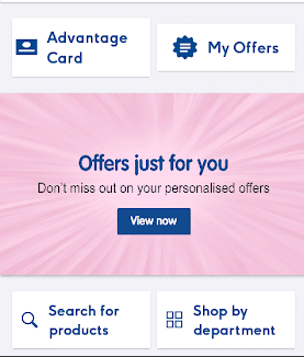 Boots Advantage Card App Home Page Screenshot