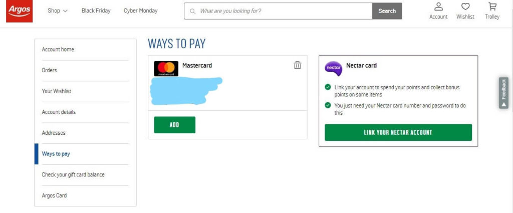 Argos Ways to Pay Link Nectar Card Screenshot