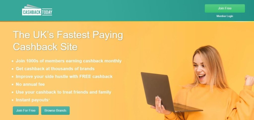 Cashback Today Homepage Screenshot