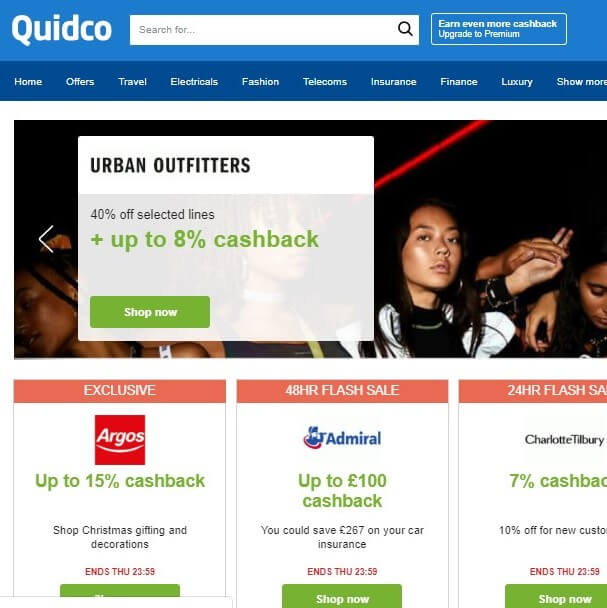 Quidco Homepage Screenshot