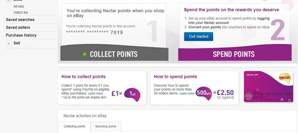 Setting up eBay account to spend Nectar points screenshot