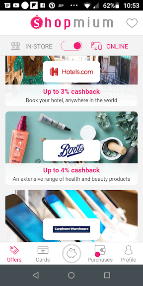 Shopmium Online Offers Screenshot hotels, Boots and Carphone Warehouse
