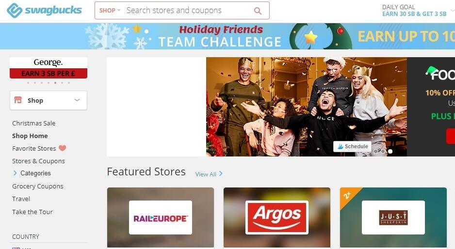 Swagbucks Homepage Screenshot