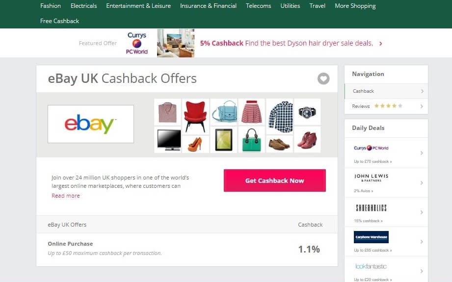 eBay TopCashback screenshot
