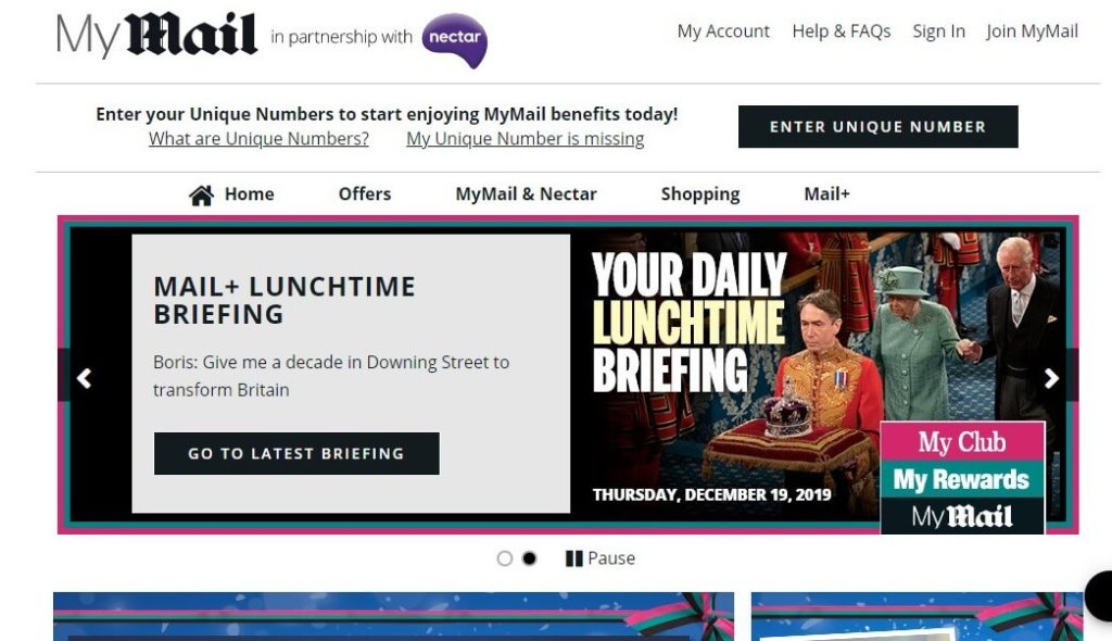 Daily Mail MyMail Rewards website Screenshot