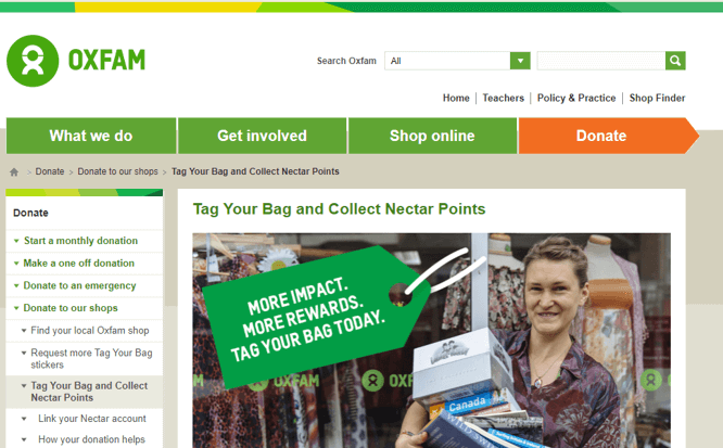 Oxfam Tag a Bag Collect Nectar points screenshot