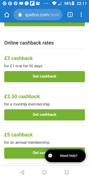 Quidco Tastecard Offer Screenshot