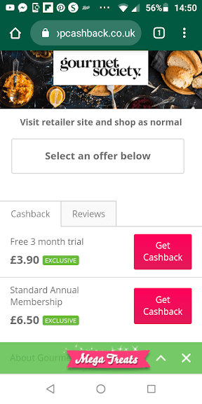 TopCashback Gourmet Society Offer Screenshot