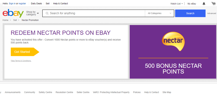 eBay 500 Bonus Points Redemption Screenshot