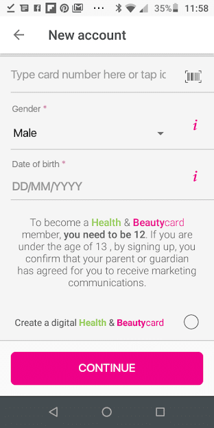 Create digital Superdrug Health and Beautycard screenshot