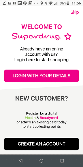 Superdrug App Account Creation and Login screenshot