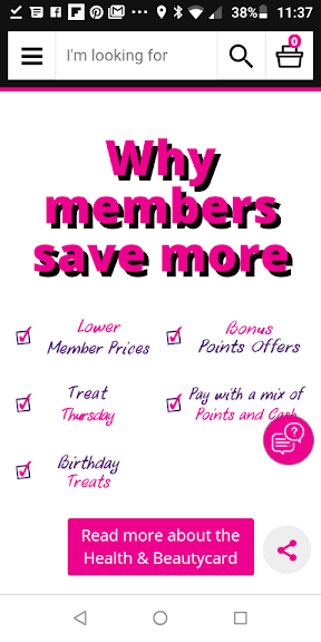 Superdrug App member benefits screenshot
